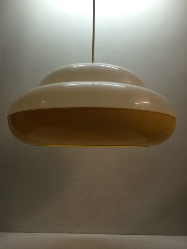 Vintage ufo lampe colani lampe gelb weiss 70er popart for Eames lampe