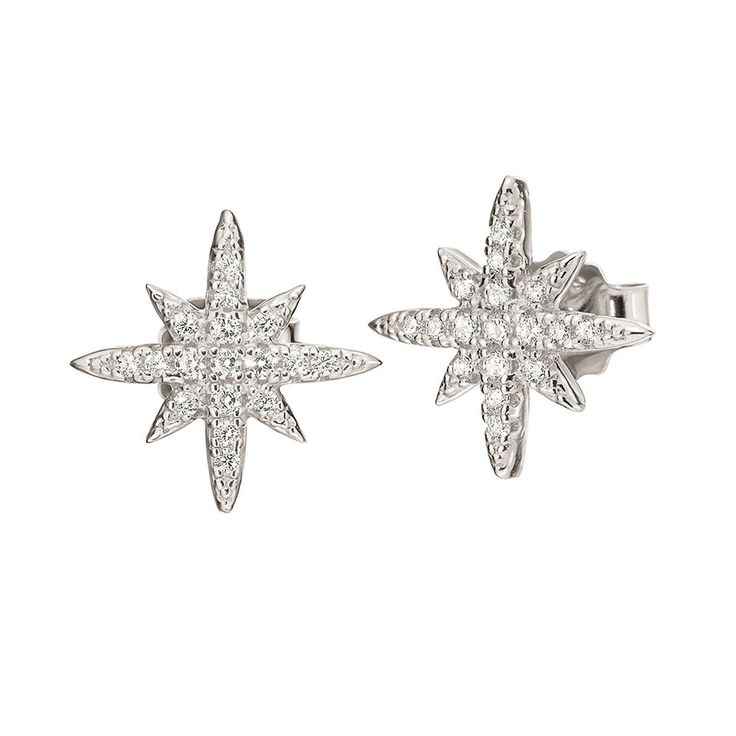 35€ Fashionably Silver Stories Rhodium Plated Stone Earrings