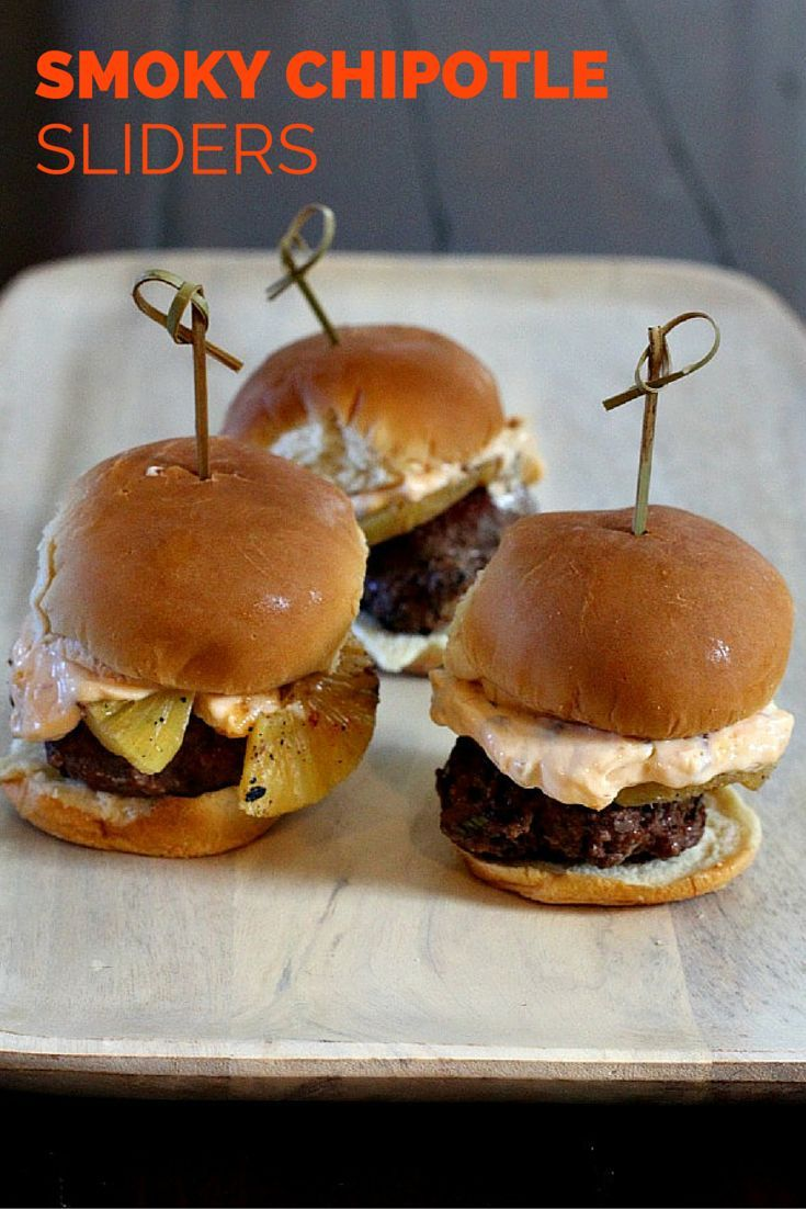 "Your new ""go-to"" slider recipe. Beef is laced with chipotle peppers..."