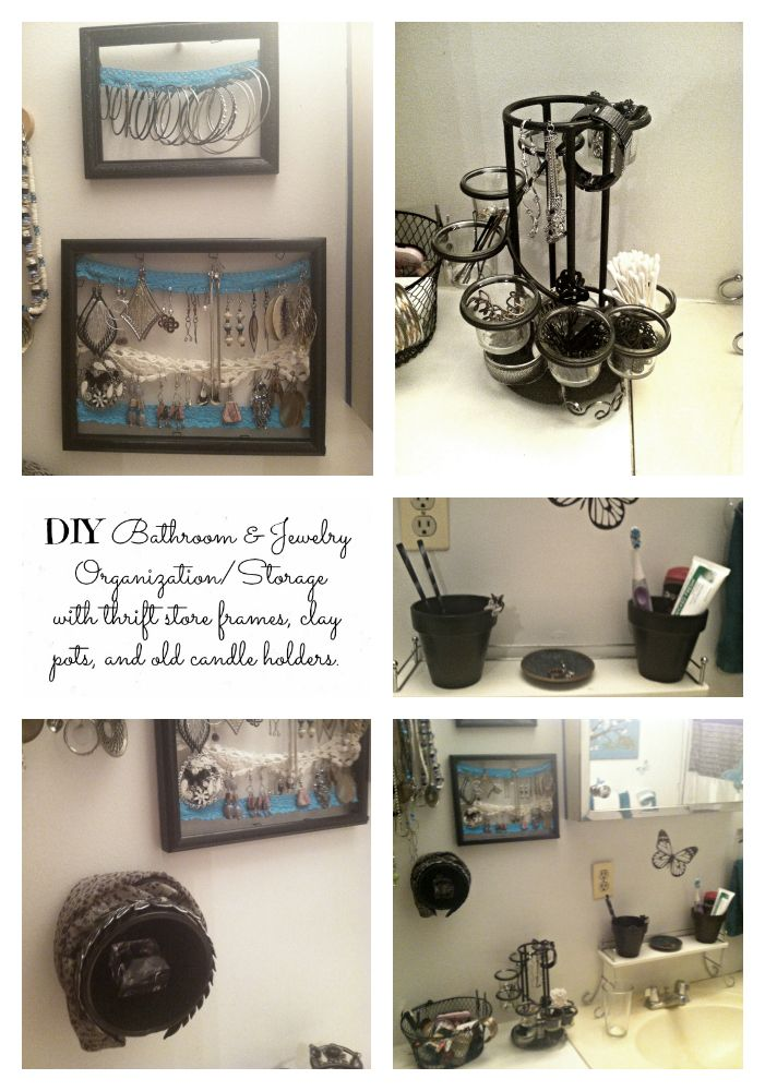 DIY Bathroom organization (with thrift store frames, old candle holders, and pots).