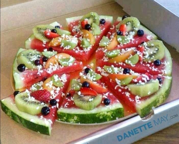 Fruit pizza! YUM! Top to your preference with shredded white chocolate, coconut, or feta cheese.