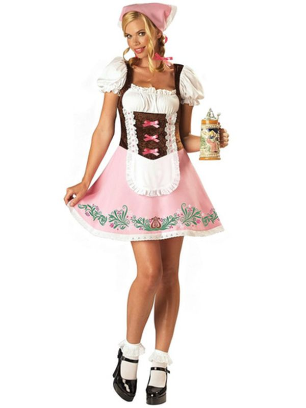 Bavarian Girl - Pink - (Dress Headscarf).  This Oktoberfest Fancy Dress Costume is great fun to wear at a Themed Oktoberfest Party. http://www.novelties-direct.co.uk/bavarian-beer-girl-dress-bow-hairclips-12345.html