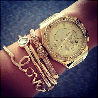 gold stacked wrist - bracelets, watches