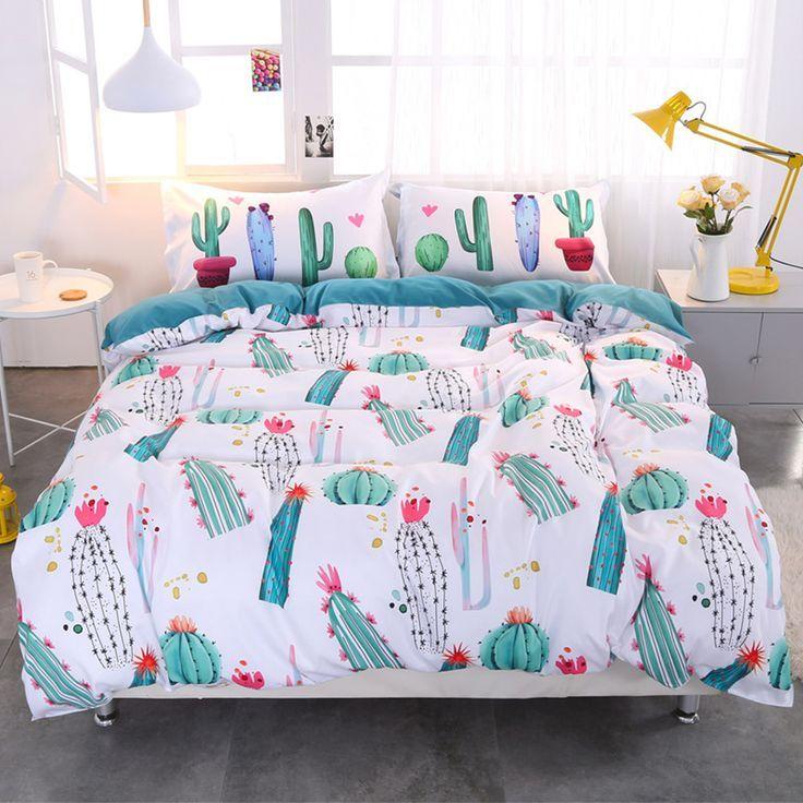 Green Cactus Style Pattern 4 Piece Bedding Sets Duvet Cover Dorm