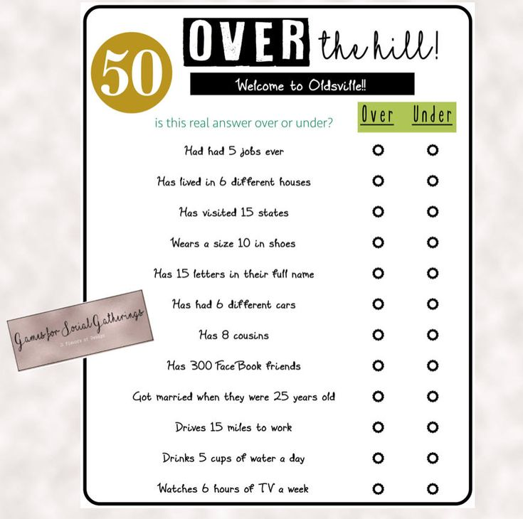 Over The Hill- Over Or Under Trivia