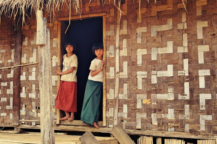 tribal village girls near Kalaw, Myanmar