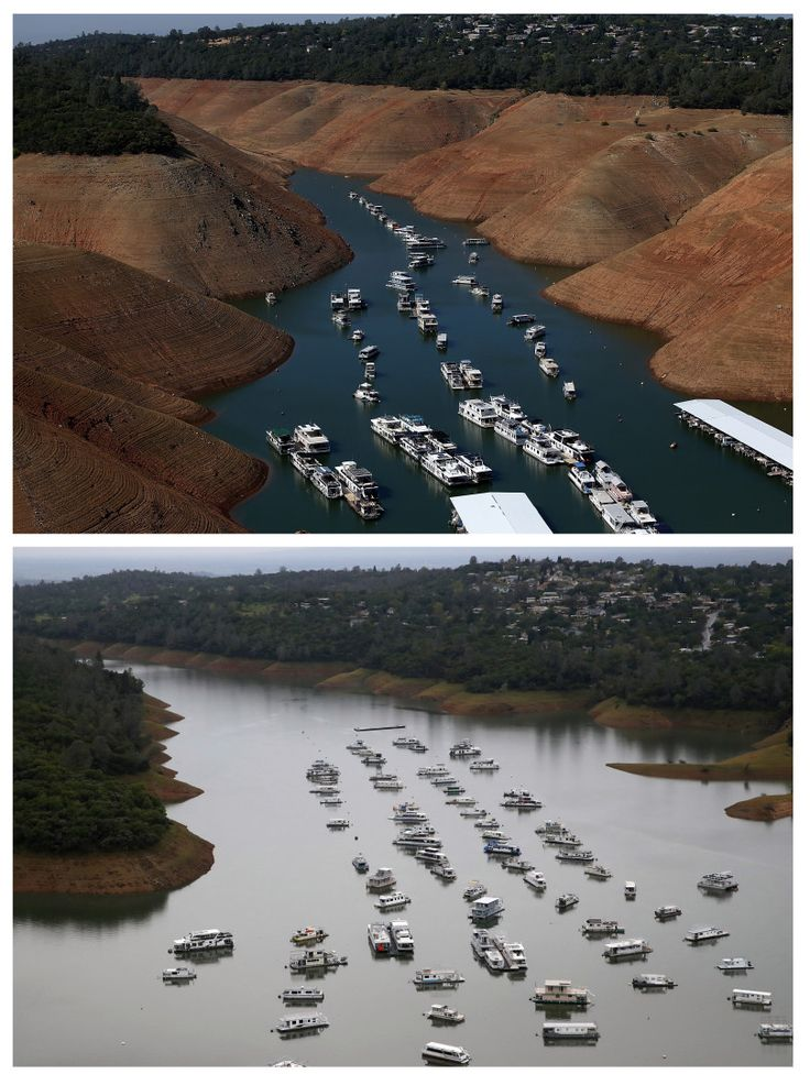 OROVILLE, CA - AUGUST 19, 2014: In this before-and-after composite image, (TOP PHOTO) Low water levels are visible in the Bidwell Marina at Lake Oroville on August 19, 2014 in Oroville, California. (Photo by Justin Sullivan/Getty Images)     OROVILLE, CA - APRIL 11, 2017: (B...