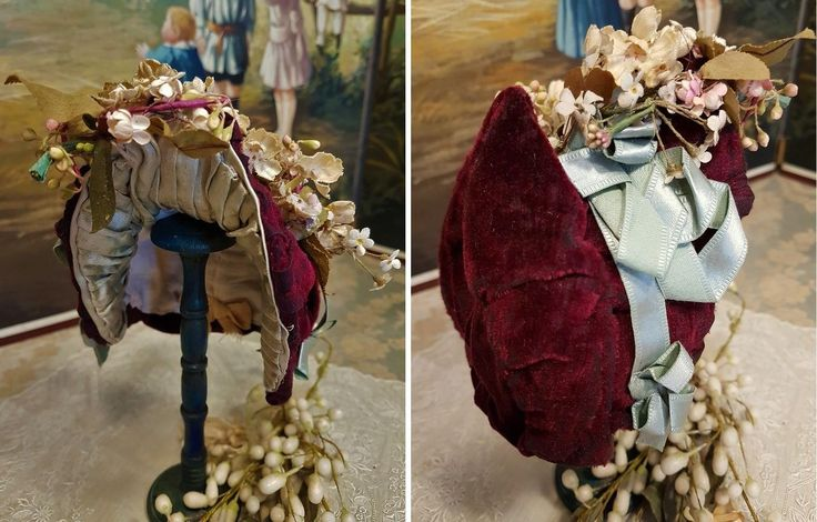 ~~~ Pretty French Burgundy & Aqua Blue Silk Costume with Bonnet ~~~ from whendreamscometrue on Ruby Lane