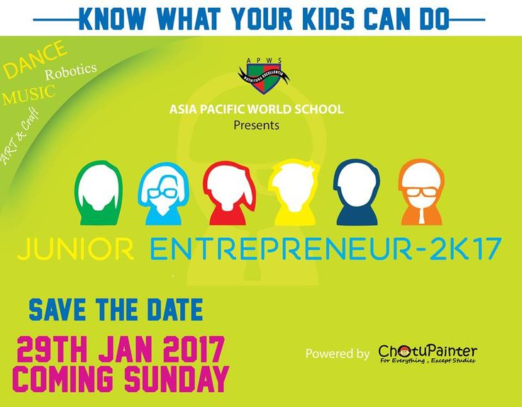"""""""COME THIS SUNDAY""""  Experience Education Experience Change """"KNOW"""" what your Kids can do !! """"FREE ENTRY"""" """"Asia Pacific World School"""" Presents """"JUNIOR ENTREPRENEUR 2017"""" 29th Jan 2017 This Sunday """"Save the date"""" also  We offer Wide range of fun and activities. #APWS #KrupanidhiGroupofInstitution"""