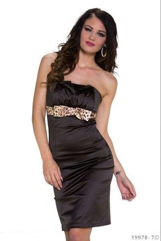 Σατέν στράπλες μίνι φόρεμα - Σκούρο Καφέ