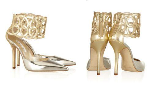 Zapatillas Metálicas con Tobilleras -- Oscar de la Renta via Net-a-Porter