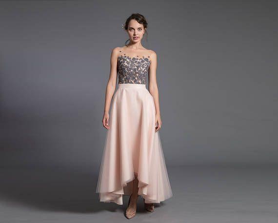 asymmetric tulle skirt  short front long back skirt  tulle