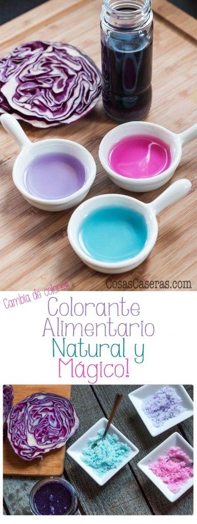Este colorante alimentario natural es mágico y 100% casero. Cambia de colores con el pH y a los niños les encanta ver como cambia de violeta a fucsia y azúl. En Español.