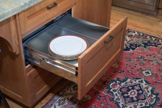 Sunnyvale, CA: Warming drawer open. Valley Home Builders.