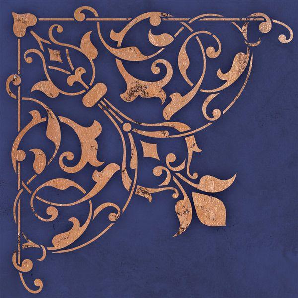 Ceiling Stencils | Arabesque Corner Stencil | Royal Design Studio