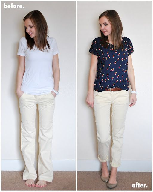 Turn wide legs into cropped pants - this would be great for flared dress slacks that are too short now, just make them skinny and crop them!