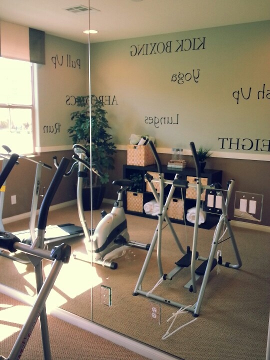Workout Room With Mirrors On One Wall And Workout Words On