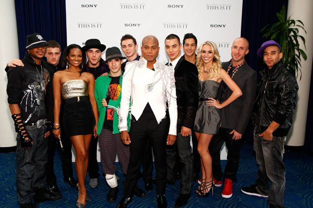 Michael Jackson's 'This is it'- dancers: Chris Grant, Misha Gabriel, Mekia  Cox, Daniel Celebre, Charles Klapow  (Chucky), Devin Andrew Jamieson, Travis Payne (choreographer and associate producer), Timor Steffens, Shannon Holtzapffel, Tyne Stecklein, Nick  Bass and Dres Reid. 'This Is It' was a show of fifty concerts by Michael Jackson to be held at The O2 Arena in London. They were scheduled to begin in July 2009 and continue through to March 2010. (Michael Jackson died June 25 2009.)
