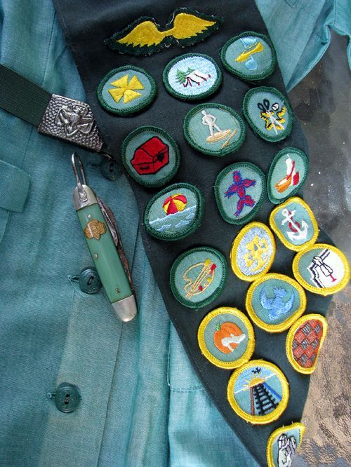 Girl Scout badges! I loved them - my sash had a ton of Junior badges and only a couple of Cadette badges - I didn't stick with Cadette scouting - boring.