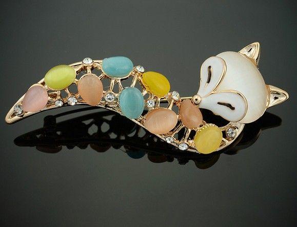2014 новое поступление популярные ювелирные изделия многоцветный опал брошь сексуальная и обворожительная фокс броши для женщин посеребренная Pin брошь.