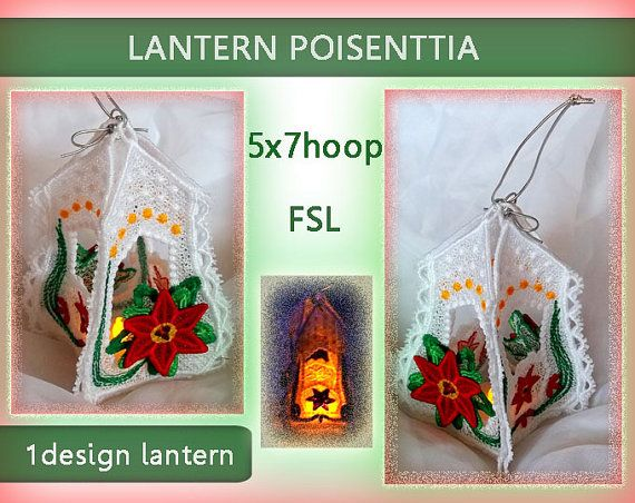 Christmas poisenttia lantern lace 3d  FSL  by EmbroideryRady