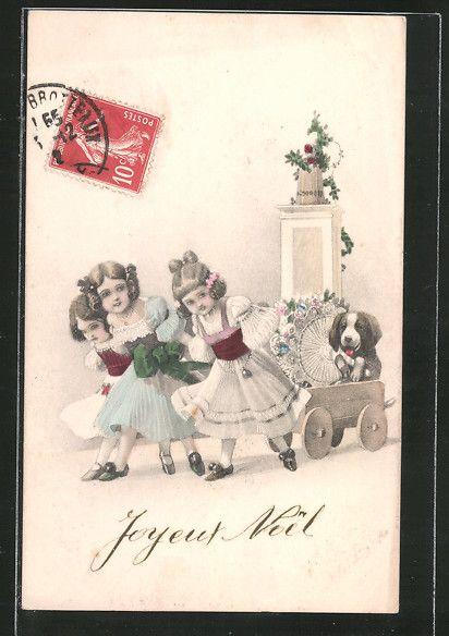 Künstler-AK V.K., Vienne Nr. 7013/B: Kinder ziehen einen Hund in einem Wagen 0