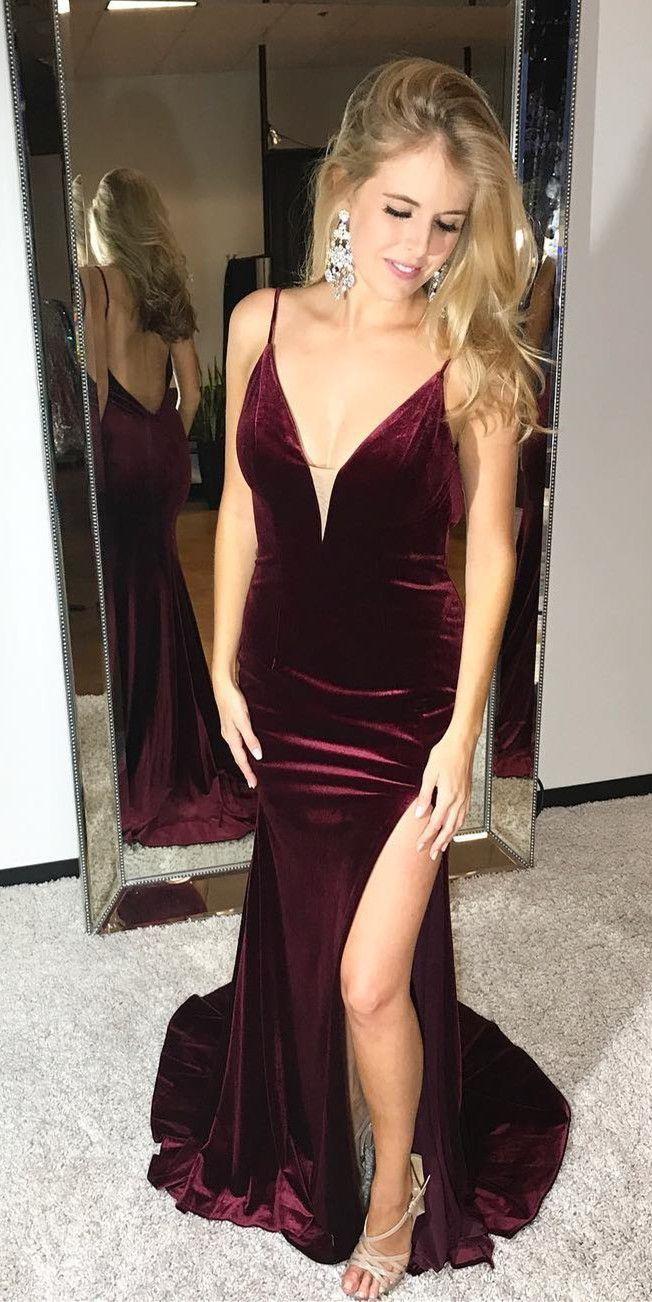 2cb6818ebcb7 Sexy A-Line Deep V-Neck Burgundy Satin Long Prom/Evening Dress with ...