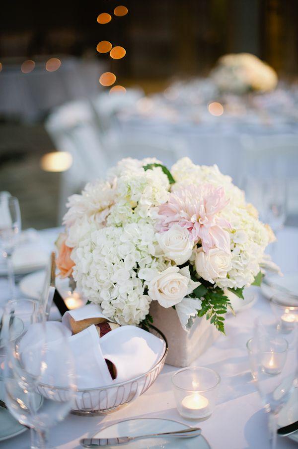 Hydrangea rose and dahlia reception table centerpiece