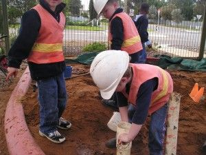 I love the idea of construction outfits for outside and the pvc pipes in the sandpit or elsewhere.Pvc Pipe