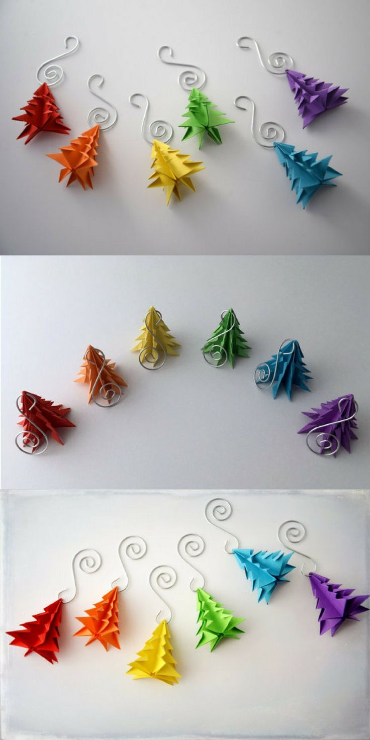 Beautiful rainbow origami christmas tree ornaments #christmas #ornament #christmastree #origami #affiliatelink