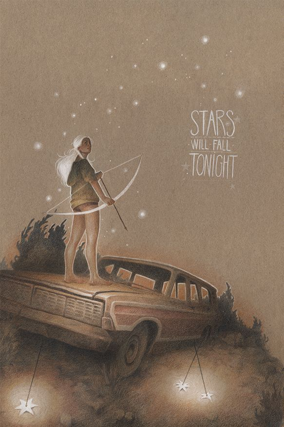 Stars will fall tonight by Vero Navar I love the white lines against the tan paper