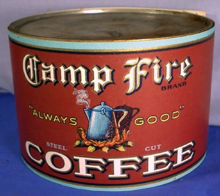 1 Lb. Coffee Can Label ~ Camp Fire ~ Steel Cut ~ 1920