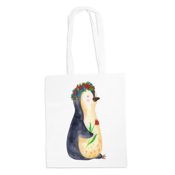 Tragetasche Pinguin Blumenkranz aus Kunstfaser  Natur - Das Original von Mr. & Mrs. Panda.  Diese wunderschöne weiße Tragetasche von Mr. & Mrs. Panda im Jutebeutel Style ist wirklich etwas ganz Besonderes. Mit unseren Motiven und Sprüchen kannst du auf eine ganz besondere Art und Weise dein Lebensgefühl ausdrücken.    Über unser Motiv Pinguin Blumenkranz  ##MOTIVES_DESCRIPTION##    Verwendete Materialien  Die verwendete sehr hochwertige Kunstfaser ist langlebig, strapazierfähig und…
