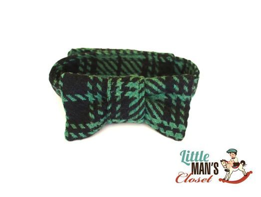 Ready to ship Green and black plaid bow tie Adjustable to fit 0- 2 years (with velcro closure for safety) $15 Matching set available