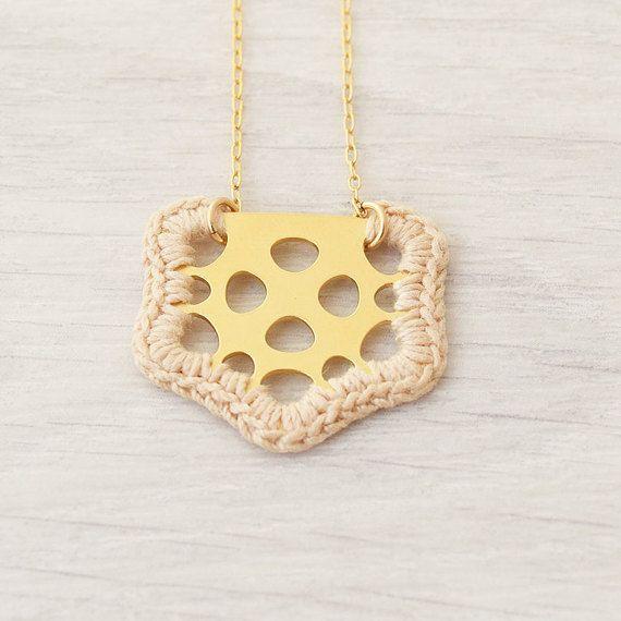 Tiny necklace, short necklace, romantic necklace, crochet gold necklace, beige pendant, delicate necklace, textile jewelry, unique necklace by Lee Narkis