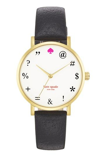 kate spade new york 'metro - expletives' leather strap watch, 34mm available at #Nordstrom