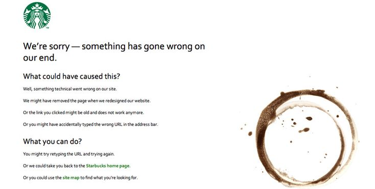 404 page of Starbucks  (Information is great here!)