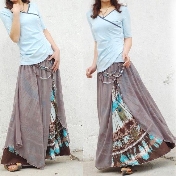 Nepalese sari maxi skirt Q1106 by idea2lifestyle on Etsy
