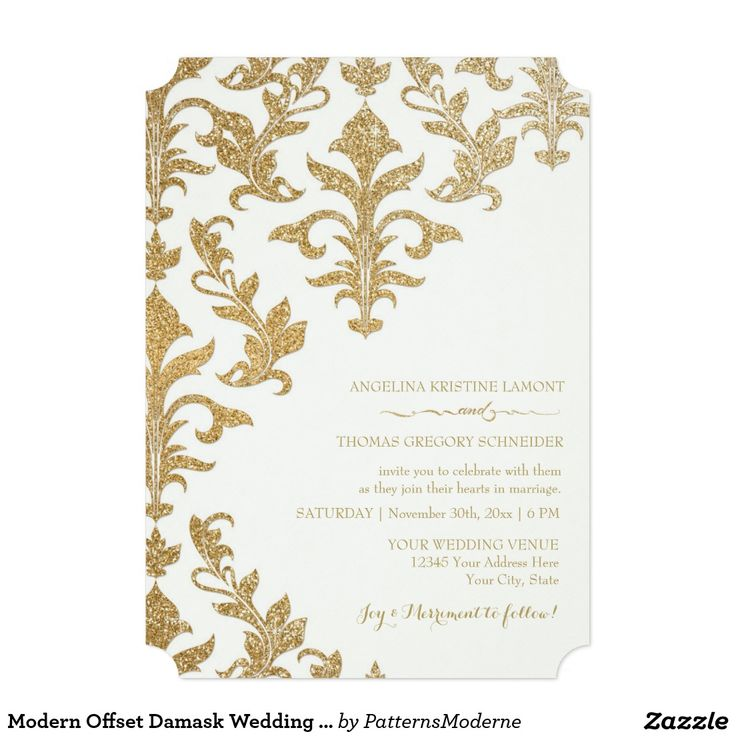 661 best wedding winter invitations images on pinterest modern offset damask wedding invitations faux gold stopboris Image collections