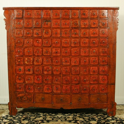 Antique Asian Chinese 95 Drawer 5 ft Tall Medicine Herb Apathecary Cabinet Chest | eBay