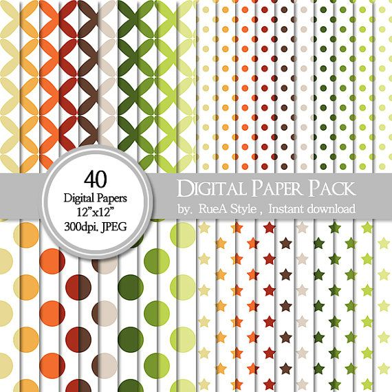 SALE 40 Digital Paper Pack Dot Fall Design Halloween by rueastyle
