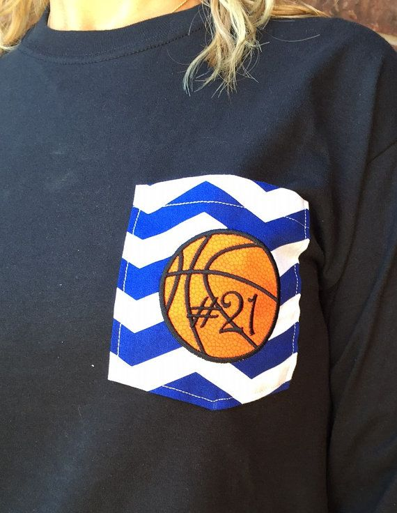 Basketball monogrammed pocket tshirt