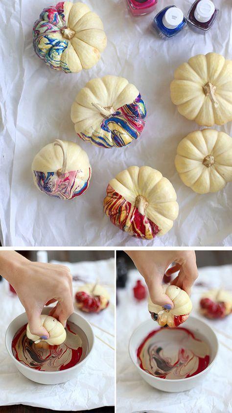 Nail Polish Marbled Pumpkins 35 Diy Fall Decorating