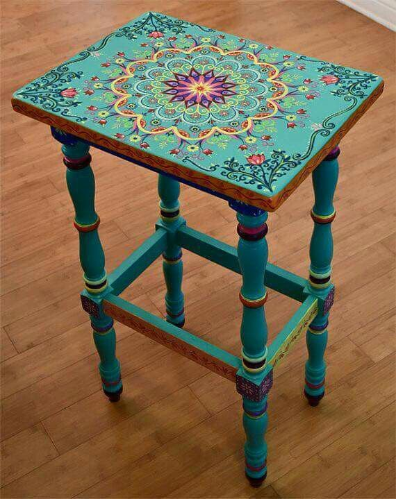 Good Hand Painted Solid Wood Accent Table, Size 17 X X 30 Inches, Boho Style.