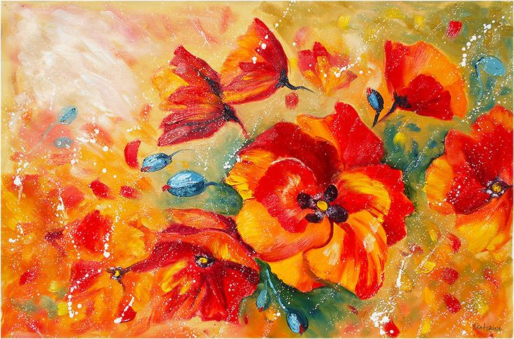 Large Orange Poppy Painting