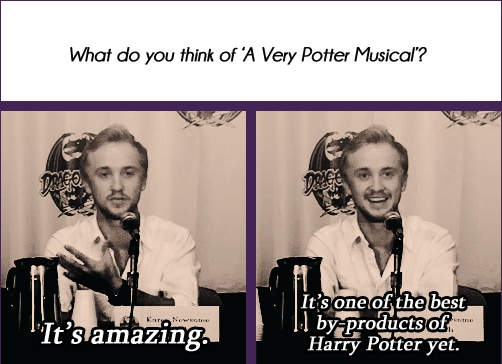 Tom Felton on A Very Potter Musical: http://www.youtube.com/watch?v=wmwM_AKeMCk&noredirect;=1