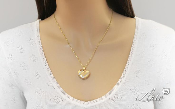 Zlatý trojfarebný prívesok srdce, pre ženy (IZ9335) | iZlato.sk