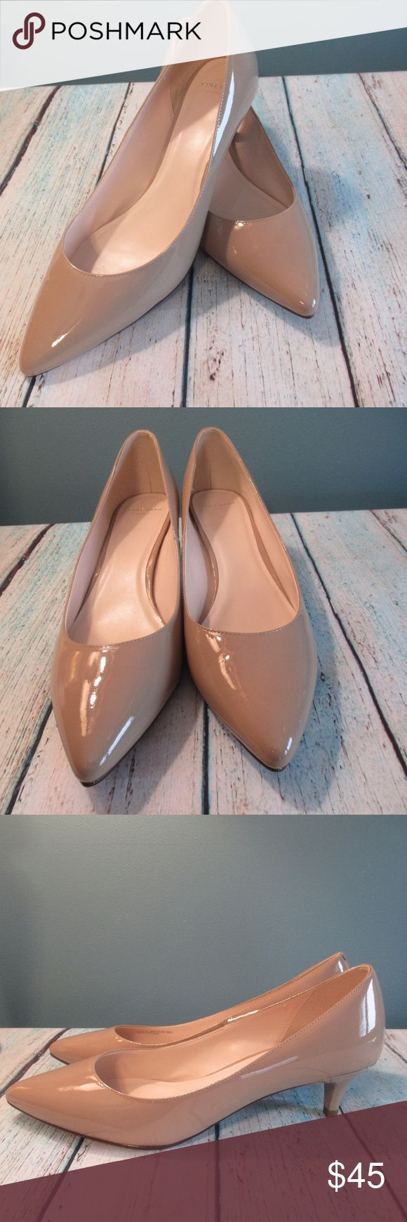 "Cole Haan Juliana Nude Kitten Heel Pump (Wide) Beautiful like new Cole Haan Juliana pump. Kitten heel design with pointed toe. Size 91/2C (wide). Nude patent leather. Heel measures 1.5"".  Thanks! Cole Haan Shoes Heels"