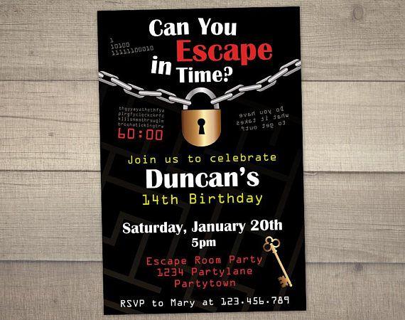 Escape Room Invitation Escape Room Party Escape Room Birthday
