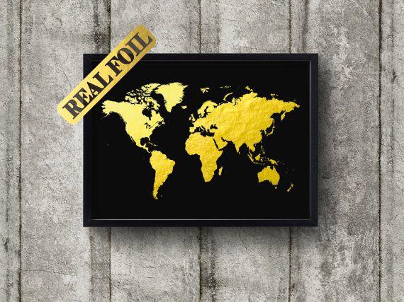Wereld kaart goud folie Print Real floret Print door BrooklynFoilArt